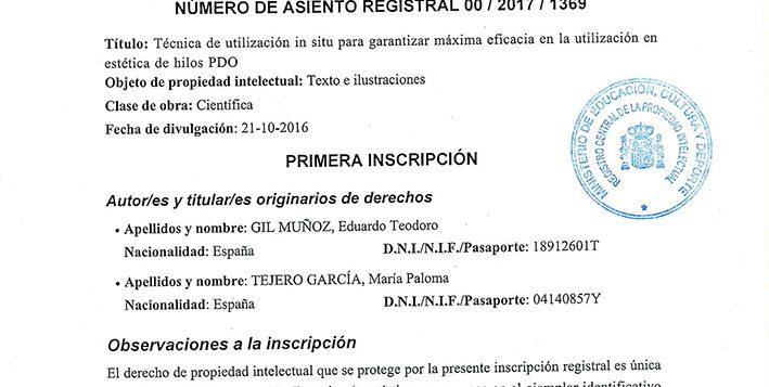 Concesión de Utlización de la técnica in situ de Hilos PDO